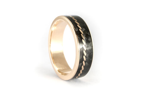 Carbon fiber and 18ct gold ring (44707_6N)