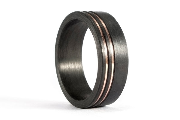 Carbon fiber and rose gold 18ct ring (04707_7N)