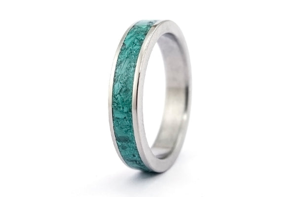 Titanium and malachite wedding bands (03225_4N7N)