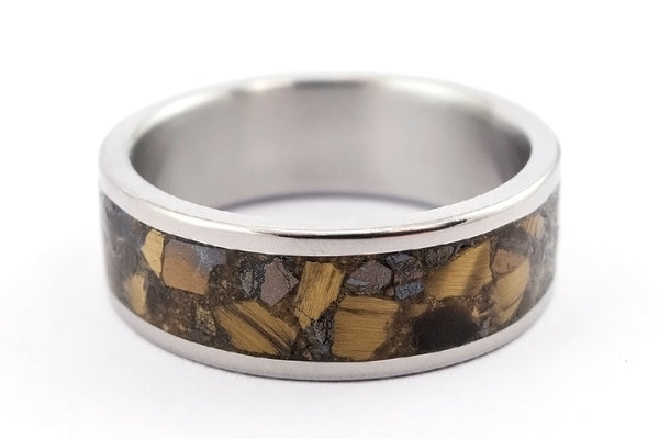 Titanium and tiger's eye ring (03226_8N)