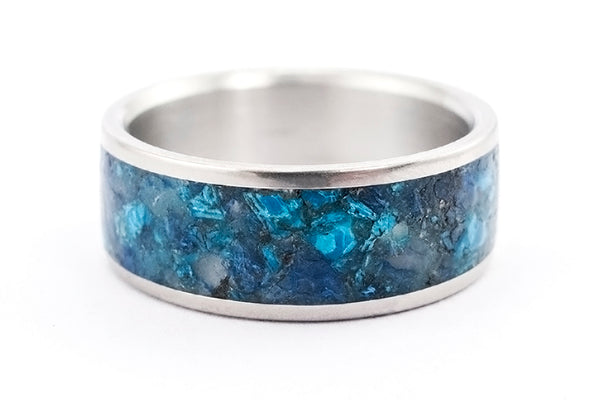 Titanium and chrysocolla ring (03227_8N)