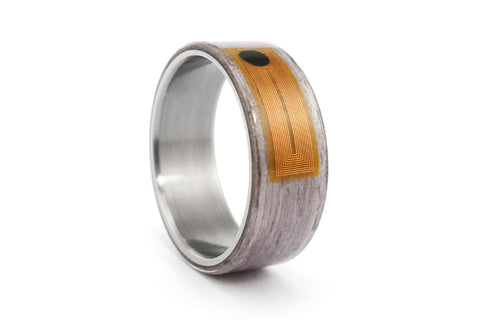 NFC Smart Ring with titanium and bentwood (04904_8N)