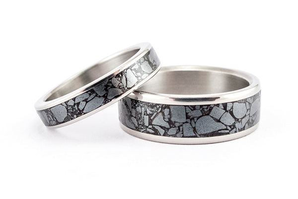 Titanium and hematite wedding bands (03230_4N7N)