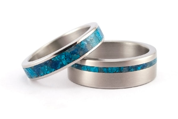 Titanium and chrysocolla wedding bands (03227_4N_03232_7N)