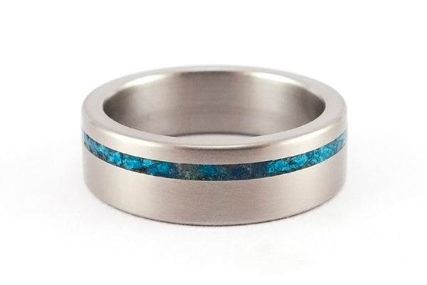 Titanium and chrysocolla ring (03232_7N)