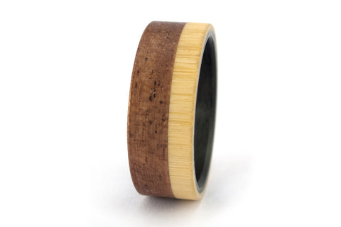 Carbon fiber, bentwood and bamboo ring (00421_8N)