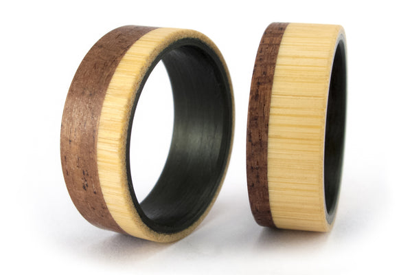 Carbon fiber, bentwood and bamboo wedding bands (00418_7N_00421_7N)