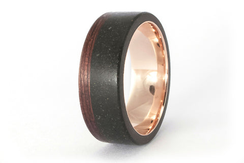18ct rose gold, concrete and wenge bentwood ring (00560_8N)