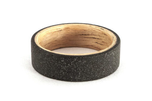 Black concrete and bentwood ring (00905_7N )