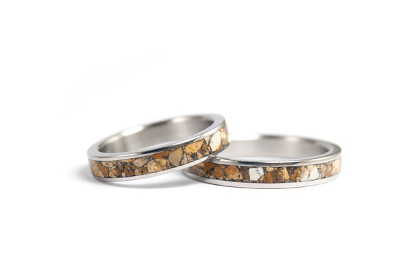 Titanium and jasper wedding bands (03223_3N4N)