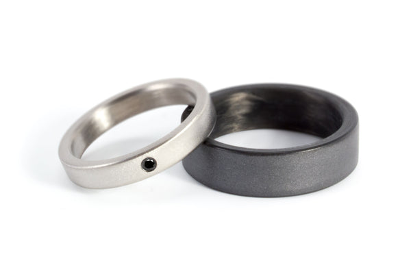 Titanium and graphite wedding bands with diamond (00002_4Dn_01100_7N)