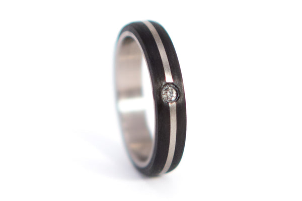 Titanium and carbon fiber wedding bands with Swarovski (00304_4S1_00307_7N)