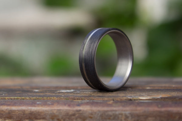 Men's titanium and carbon fiber ring. Modern and industrial black wedding band. (00351) - Rosler Rings