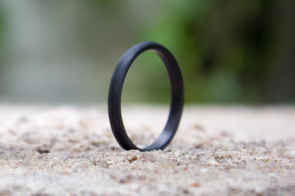 Women's carbon fiber round ring. Unique and industrial black wedding band. (00144) - Rosler Rings