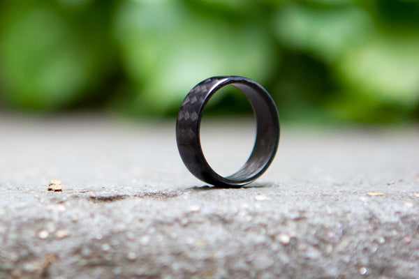 Men's carbon fiber round ring. Unique and modern black glossy wedding band. (00106) - Rosler Rings