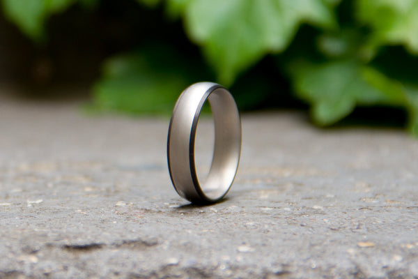 Men's titanium and carbon fiber ring. Unique and modern wedding band. (00307) - Rosler Rings
