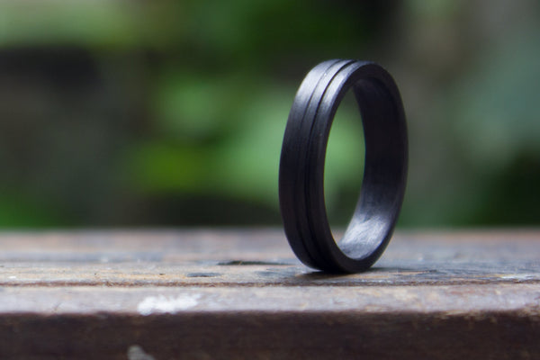 Women's carbon fiber ring with two stripes. Modern black wedding band. (00122) - Rosler Rings