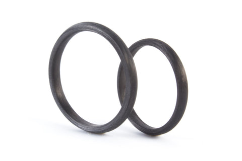 Set of two carbon fiber round wedding bands. Unique and modern black rings. (00145) - Rosler Rings