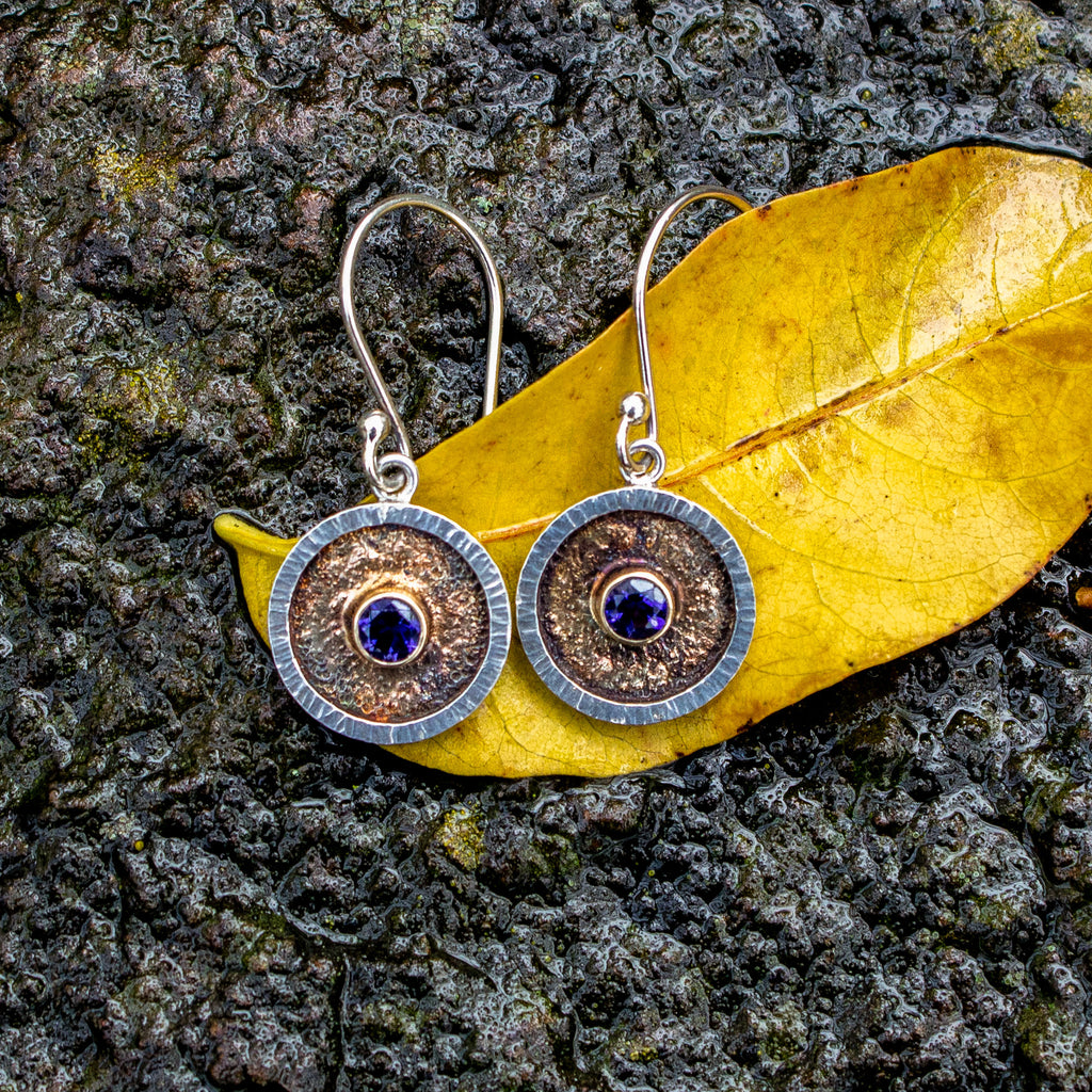 faceted iolite earrings in 14K gold and sterling silver