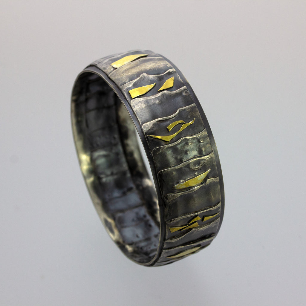 Fused Texture Bangle with 22K Accents