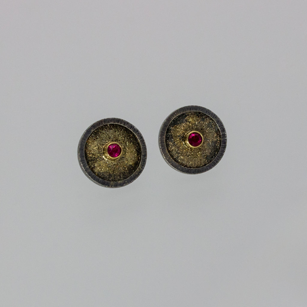 ruby studs in 14K gold and sterling silver