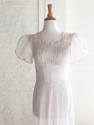 1930's Red Polka Dot Organza Garden Party Dress