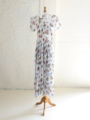 1930's Floral Print White Gauze Tea Dress