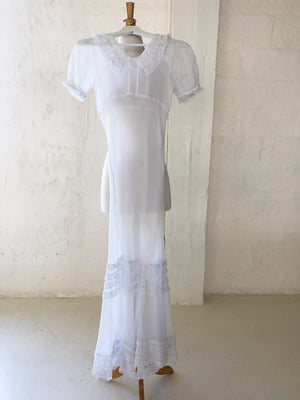 1930's Sheer White Cotton Voile Dress