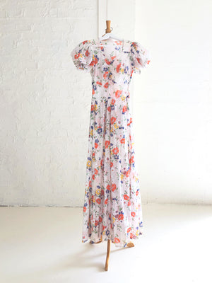 1930's Semi-Sheer Cotton Voile Dress with Floral Print