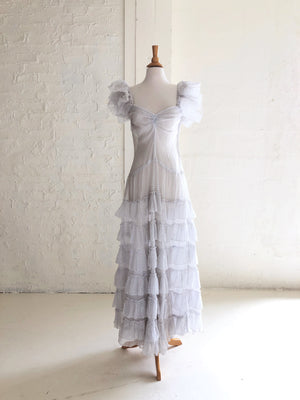 1930's Tiered Swiss Dot Organza Party Dress