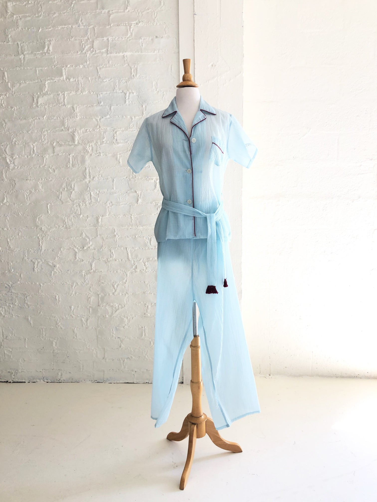 Baby Blue Seersucker Pajama Set