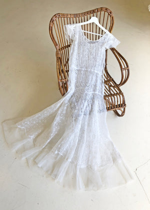 1930's White Organza Eyelet Dress