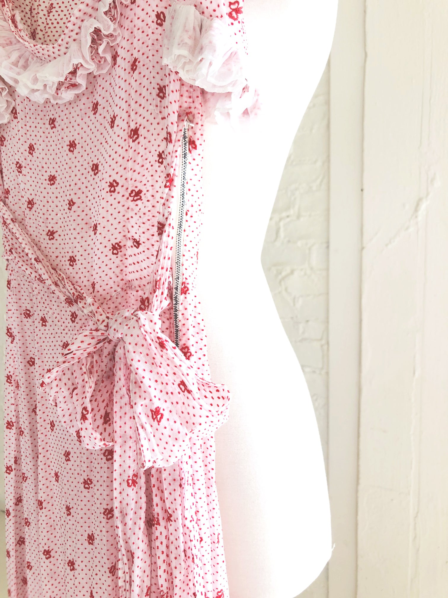 1930's Swiss Cotton Party Dress with Red Polka Dots and Embroidered Bows
