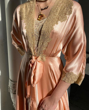 Peach Pink Silk Robe with Lace