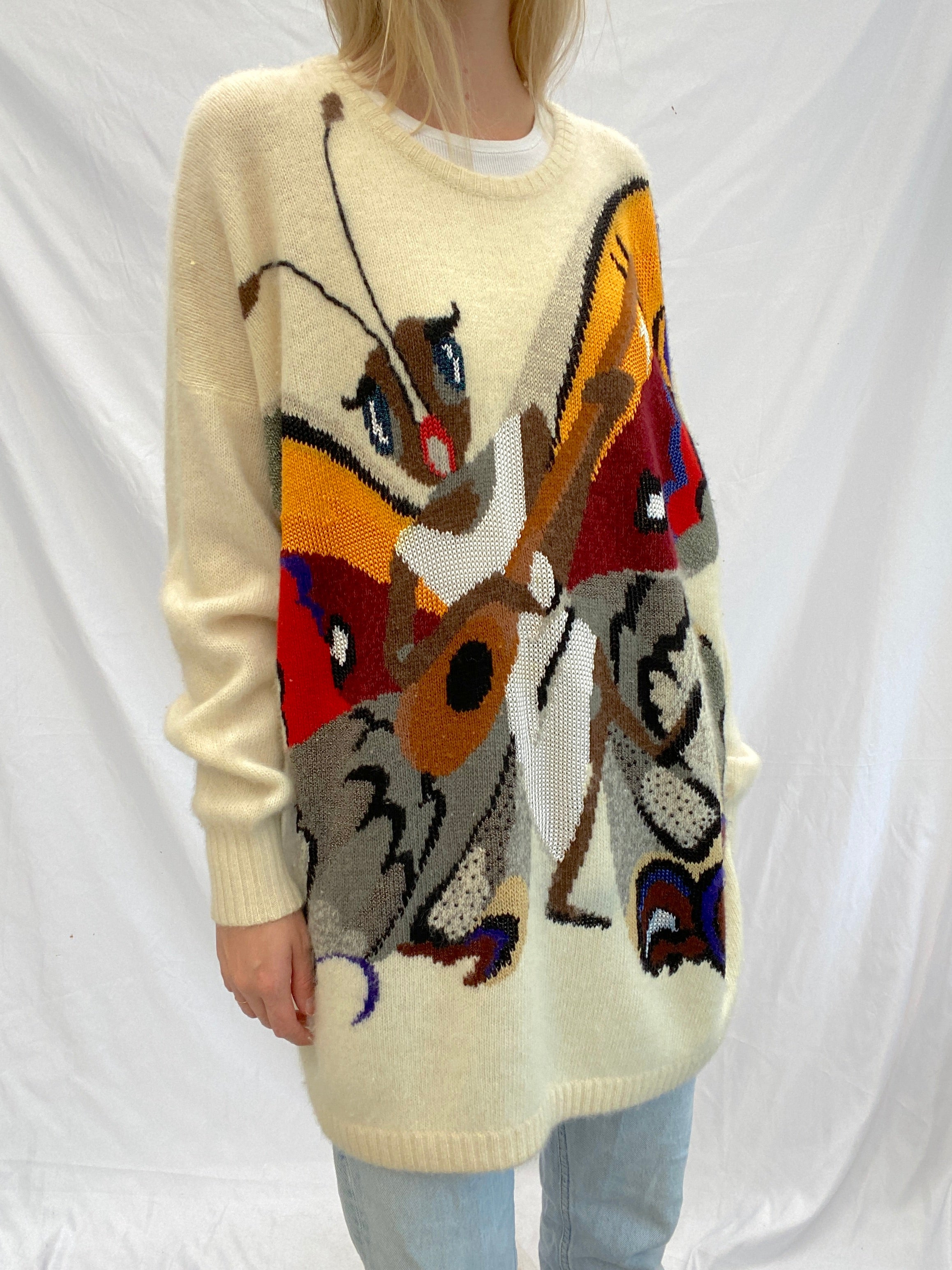 Cream Butterfly Krizia Maglia Sweater