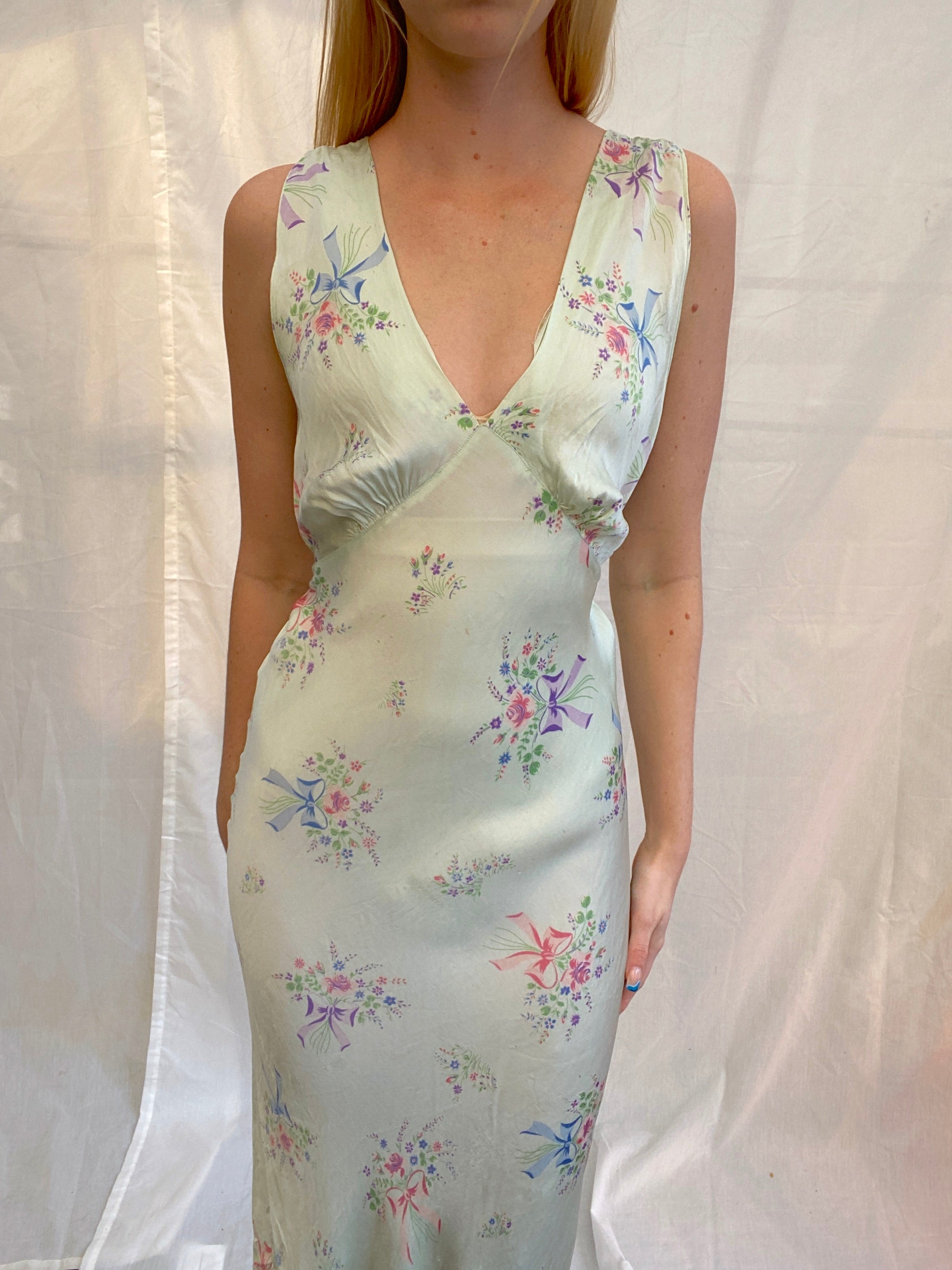 1930's Floral and Bow Print Slip