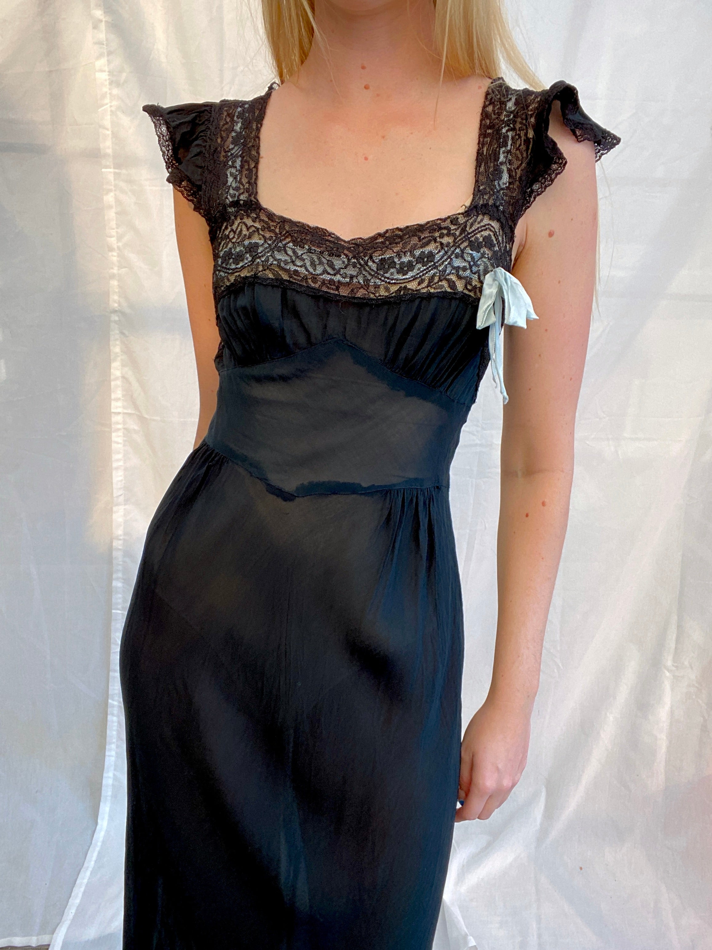 1930's Black Slip with Baby Blue Ribbon