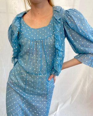 1940's Blue Polka Dot Organza Set