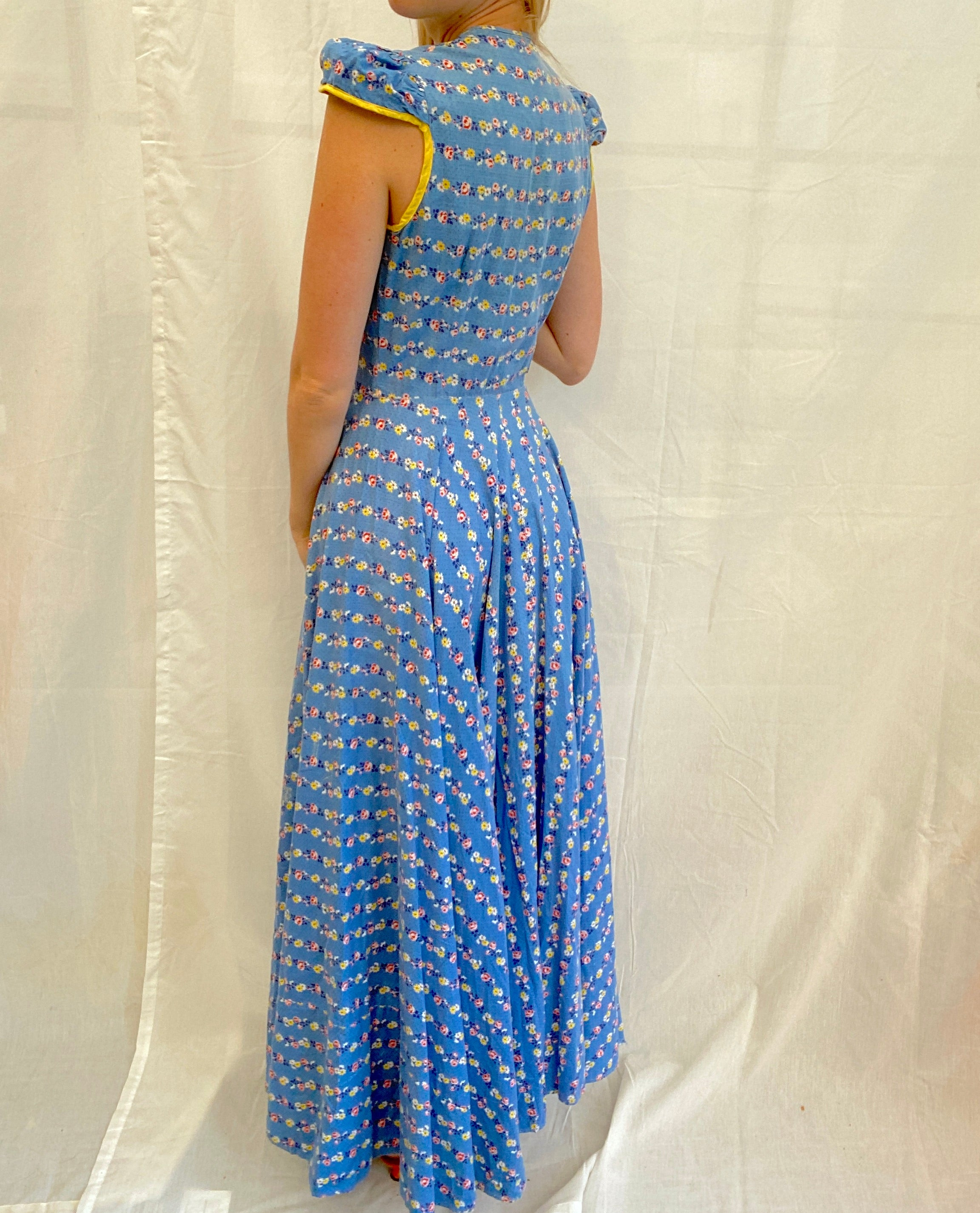 1940's Blue Cotton House Dress with Floral And Polka Dot Print