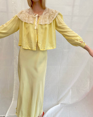 1940's Yellow Slip and Bed Jacket Set