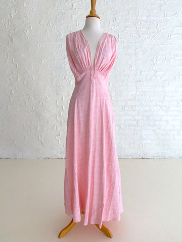 Light Pink Rayon Slip Dress with White Floral Print
