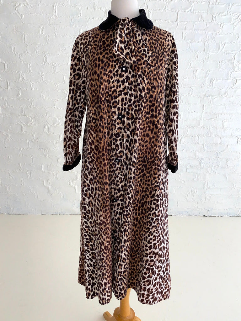 Soft Cotton Leopard Print Corduroy Coat