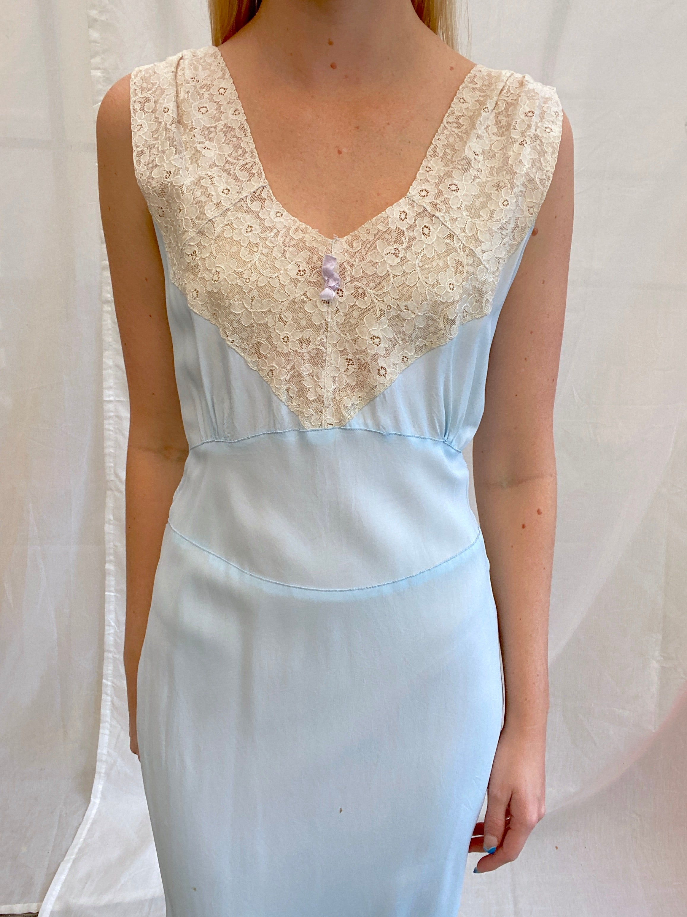 1940's Baby Blue Slip with Cream Lace