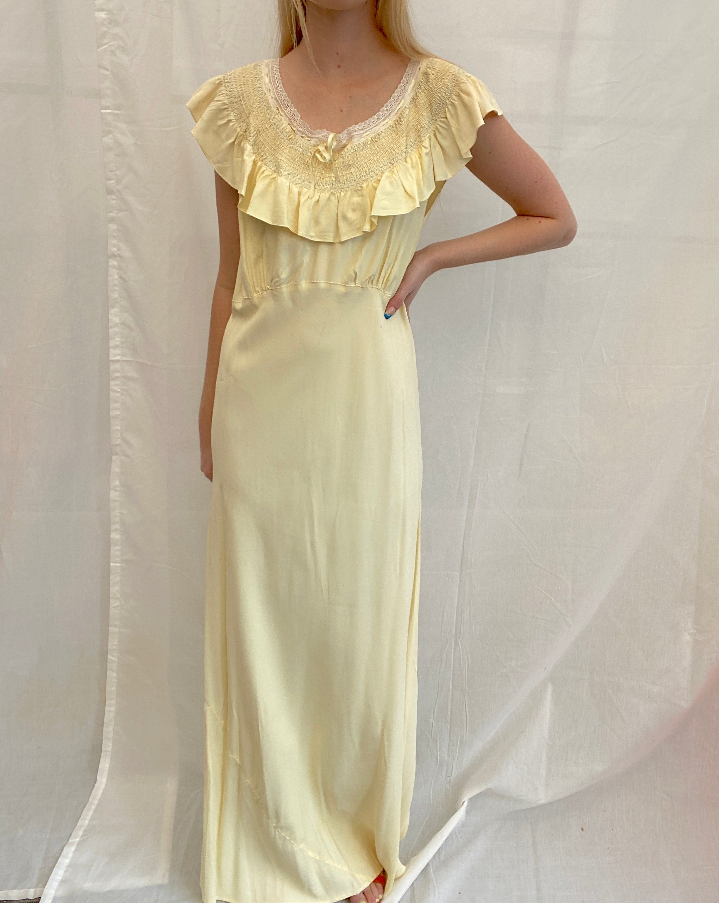 1940's Yellow Slip with Beautiful Smocked Collar
