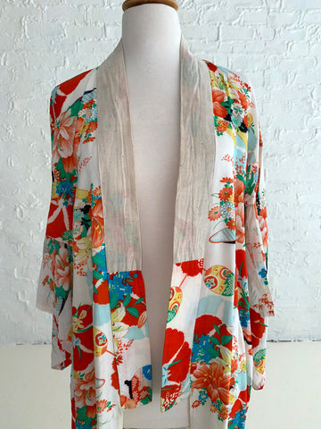 Orange and Blue Rayon Kimono with Linen Collar Detail