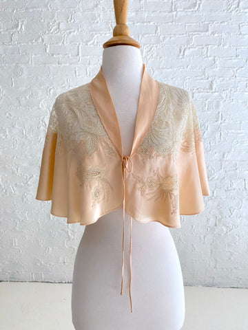 Peach Silk Shrug with Cream Lace Detail