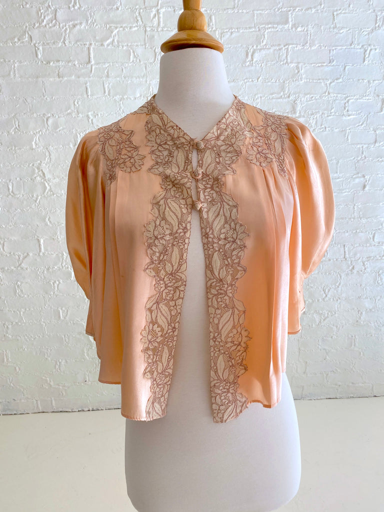 Peach Silk Shrug with Dark Cream Lace Detail