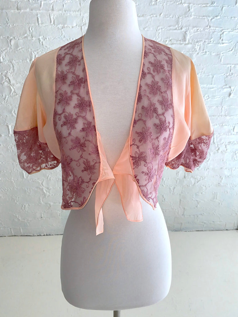 Peach Silk Shrug with dark Pink Lace Detail and Large Puff Sleeves