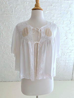 White Rayon Silk Shrug with Beautiful Lace Detail