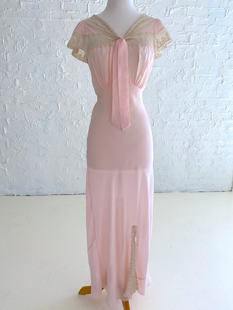 Pink Rayon Dress with Lace inserts and bow and Ties Bias-Cut